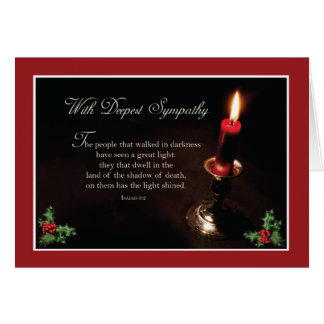 Sympathy At Christmas Religious Lighted Candle Card