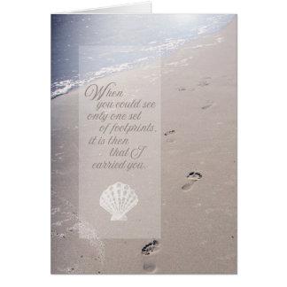 Sympathy Beach Footprints | Scallop Seashell Card