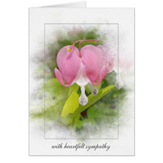 sympathy-bleeding heart flower card