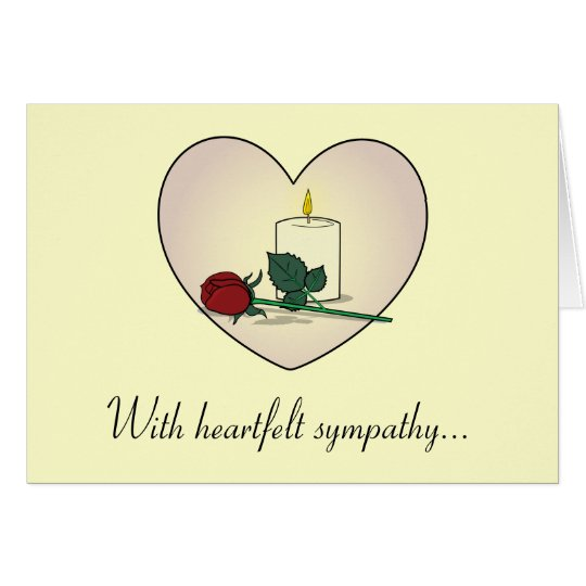 Sympathy Card Grandmother: Rose, Candle, Heart