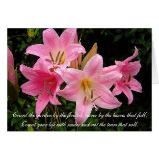 Sympathy Card - Pink Lilies
