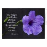 Sympathy Card, Purple Bloom, Bible verse on faith Card