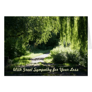 Sympathy Card Sunlit Path and Willow Tree