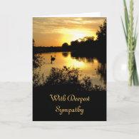 Sympathy Card - Sunset Swan Lake orange yellow
