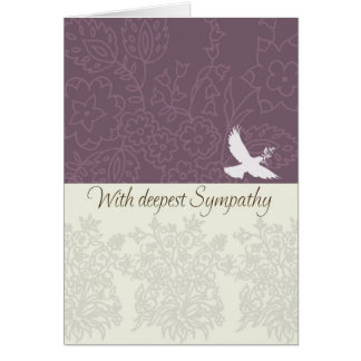 Sympathy card with dove, deepest sympathy