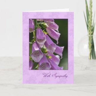 Sympathy Card With Pretty Foxgloves