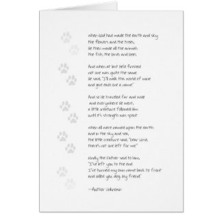 Sympathy Dog Loss Card - Dog Poem on Front