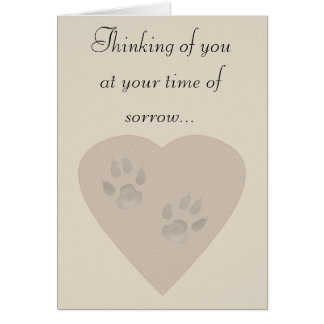 Sympathy for a Pet: Paw Prints in a Heart of Sand Cards