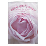 Sympathy for loss of a Wife, a beautiful pink rose Greeting Cards