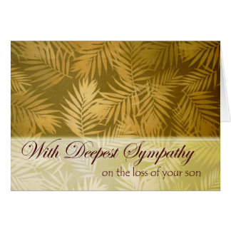 Sympathy for Loss of Son, Palm Fronds Fabric Card