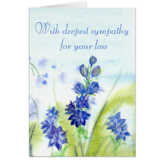 Sympathy For Your Loss Blue Watercolor Flowers Card