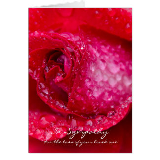 Sympathy Greeting Card with Red Rose Rain Drops