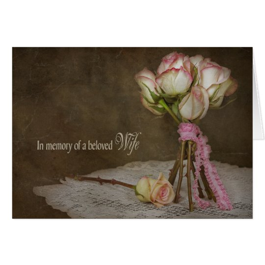 sympathy in loss of wife-rose bouquet card