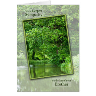 Sympathy loss of brother, tranquil river scene greeting card