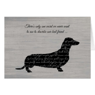 Sympathy, Loss of Dog, Dachshund Word Collage Card