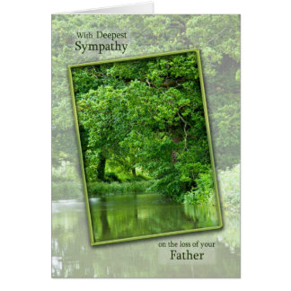 Sympathy loss of father tranquil river scene card