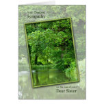 Sympathy loss of sister, tranquil river scene greeting card