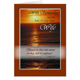 Sympathy Loss of Wife, Sunset Over Ocean, Relig Card