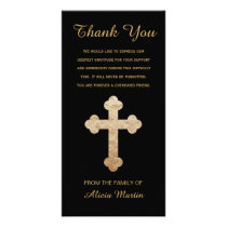 Sympathy Memorial Thank You Gold Religious Cross Card