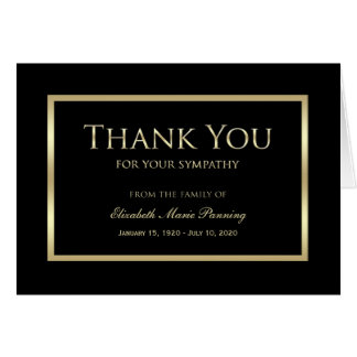 Sympathy Memorial Thank You Note Card Black Gold