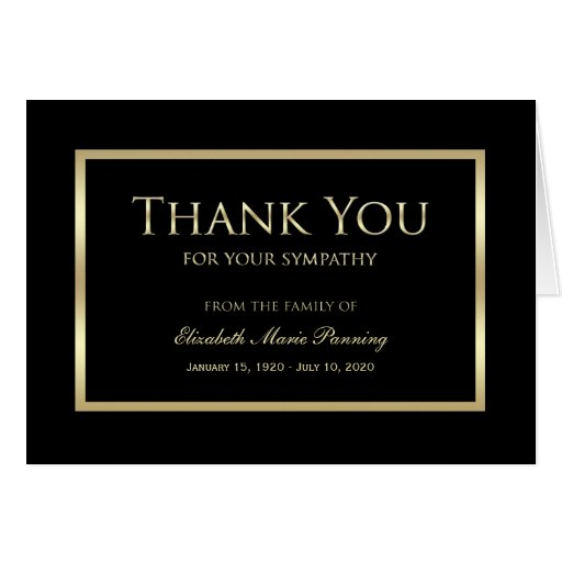 Sympathy memorial thank you note card black gold zazzle for Thank you note for condolence gift