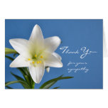 Sympathy Memorial Thank You Note Card, Easter Lily