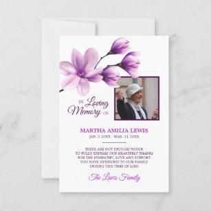 Sympathy Memory Floral Lavender THANK YOU   PHOTO