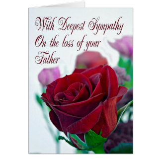 Sympathy on loss of father, with a red rose card