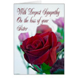 Sympathy on loss of sister, with a red rose greeting card