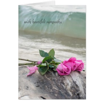 Beach Themed sympathy-pink rose bouquet on driftwood card