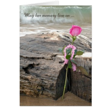 Beach Themed sympathy pink rose on driftwood with waves card