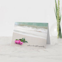 sympathy pink roses on beach sand card