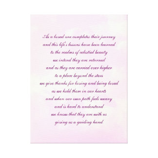 Sympathy poem art canvas print