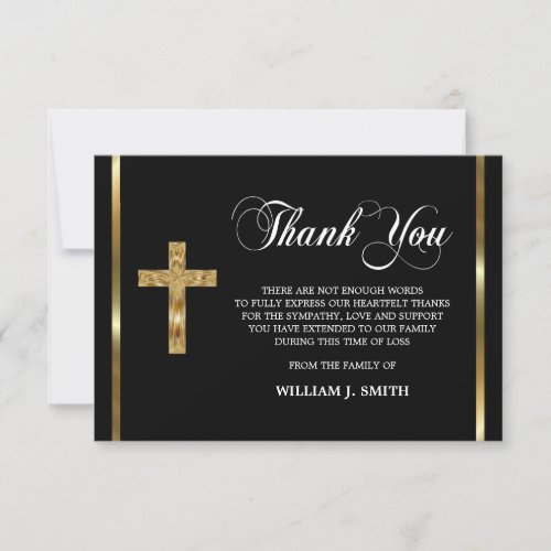 Sympathy Religious Gold Cross THANK YOU  PHOTO