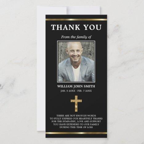Sympathy Religious Gold Cross THANK YOU | PHOTO