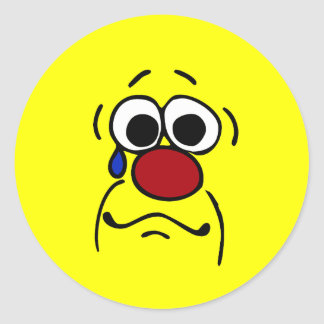 Sympathy Smiley Face Grumpey Classic Round Sticker