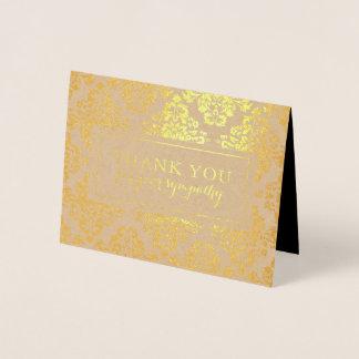 Sympathy Thank You card | Gold Damask Foil Pattern
