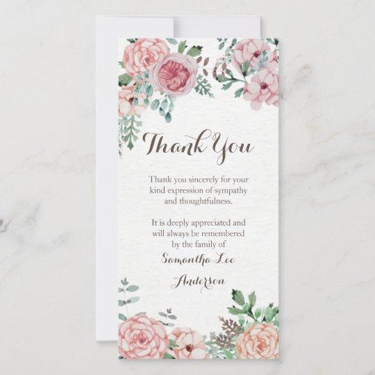 sympathy thank you card memorial  zazzle