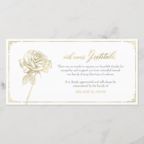 Sympathy Thank You Card, Memorial, Rose Gold