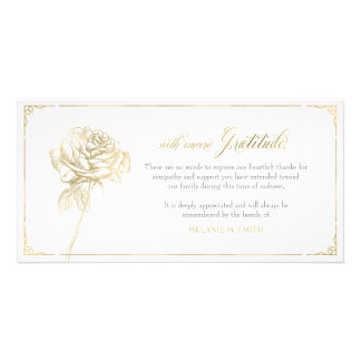 Sympathy Thank You Card, Memorial, Rose Gold Card
