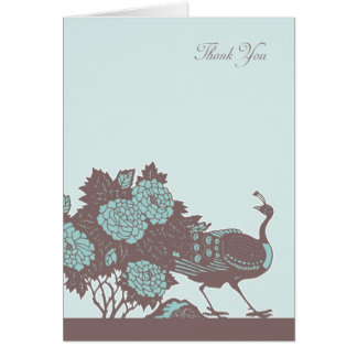 Sympathy Thank You Card With Roses And Peacock