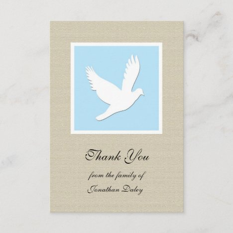 Sympathy Thank You Flat Card - Dove
