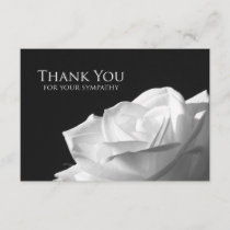 Sympathy Thank You Flat Card - White Rose