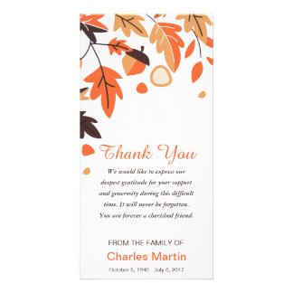 Sympathy Thank You Memorial Autumn Leaves Card