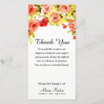 """Sympathy Thank You Memorial Watercolor Floral<br><div class=""""desc"""">Lovely sympathy memorial thank you- Top is adorned with elegant watercolor floral wreath design in shades of green, yellow, red, coral, peach, and pink. Reads &quot;Thank You&quot; at the top with a message of gratitude below in script lettering. Option to change the sentiment to your own personalized words of thanks....</div>"""