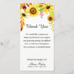 """Sympathy Thank You Memorial Watercolor Sunflowers<br><div class=""""desc"""">Lovely sunflowers sympathy memorial thank you- Top is adorned with elegant watercolor floral sunflowers design in natural shades of green, yellow, red, and brown. Reads &quot;Thank You&quot; with a message of gratitude below in elegant script lettering. Option to change the sentiment to your own personalized words of thanks. The bottom...</div>"""