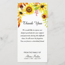 Sympathy Thank You Memorial Watercolor Sunflowers