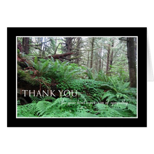 Sympathy Thank You Note Card -- Forest