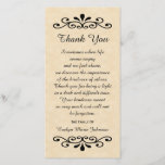 """Sympathy Thank You Photo Card Parchment Look<br><div class=""""desc"""">This elegant parchment look sympathy memorial thank you photo card features lovely decorative elements along the top and the bottom with beautiful words in between with which to say thank you for your sympathy.  This classic design can be customized with the name of your loved one.  Copyright sympathythankyou</div>"""
