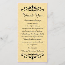 Sympathy Thank You Photo Card Parchment Look Gold
